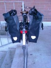 Full capacity demonstration (unrolled Ortlieb Backroller panniers.)