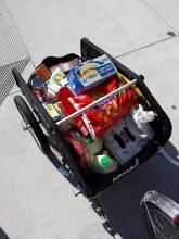 Fully loaded Burley Nomad bicycle cargo trailer.