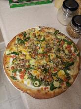 "A cooked 16"" take-and-bake-pizza."